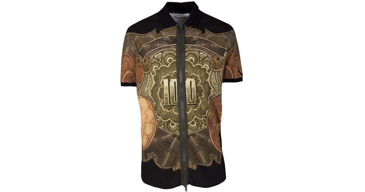 bbe03d925 Lyst - Givenchy Money Print Honeycomb Knit Colombian Fit Zip Up Polo  T-shirt M for Men