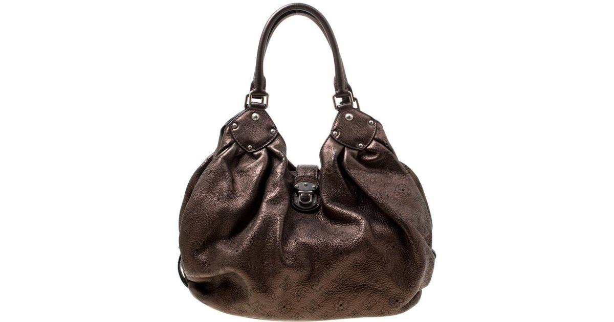 ac38c43b4ac3 Louis Vuitton Metallic Mordore Monogram Mahina Leather Large Hobo in Brown  - Lyst