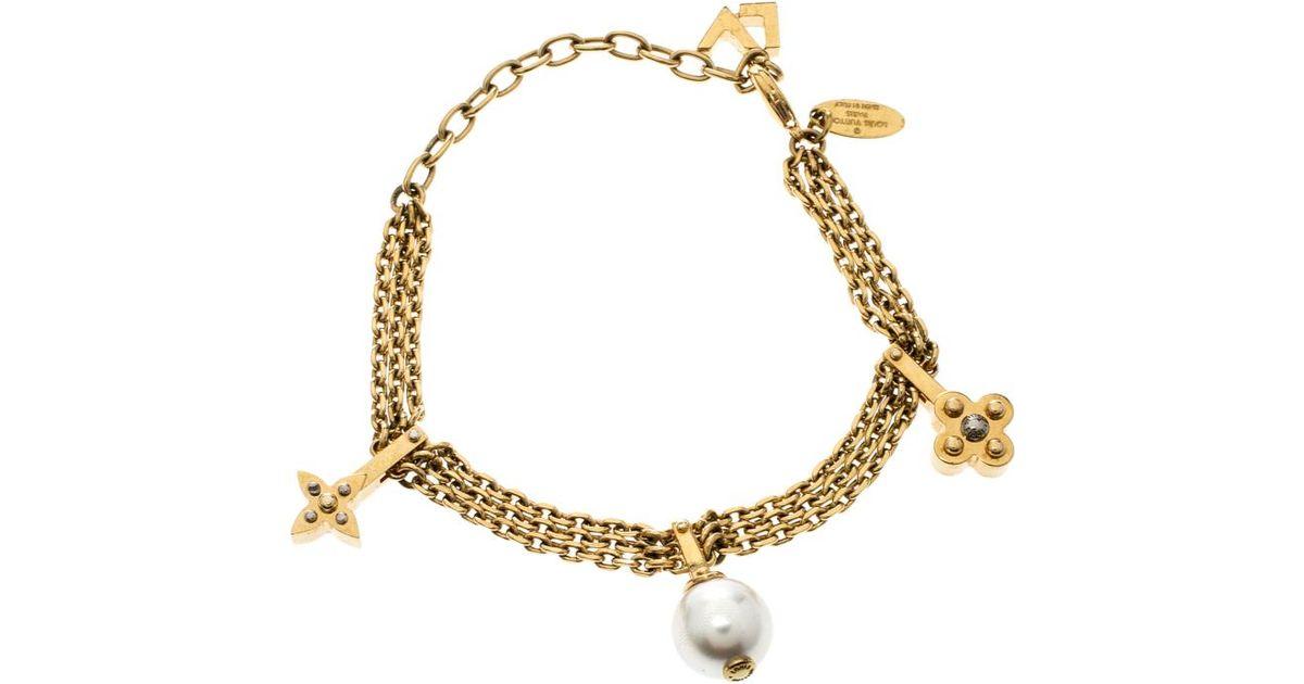 880dd251d8de Lyst - Louis Vuitton Damier Monogram Faux Pearl Gold Tone Chain Link Charm  Bracelet in Metallic