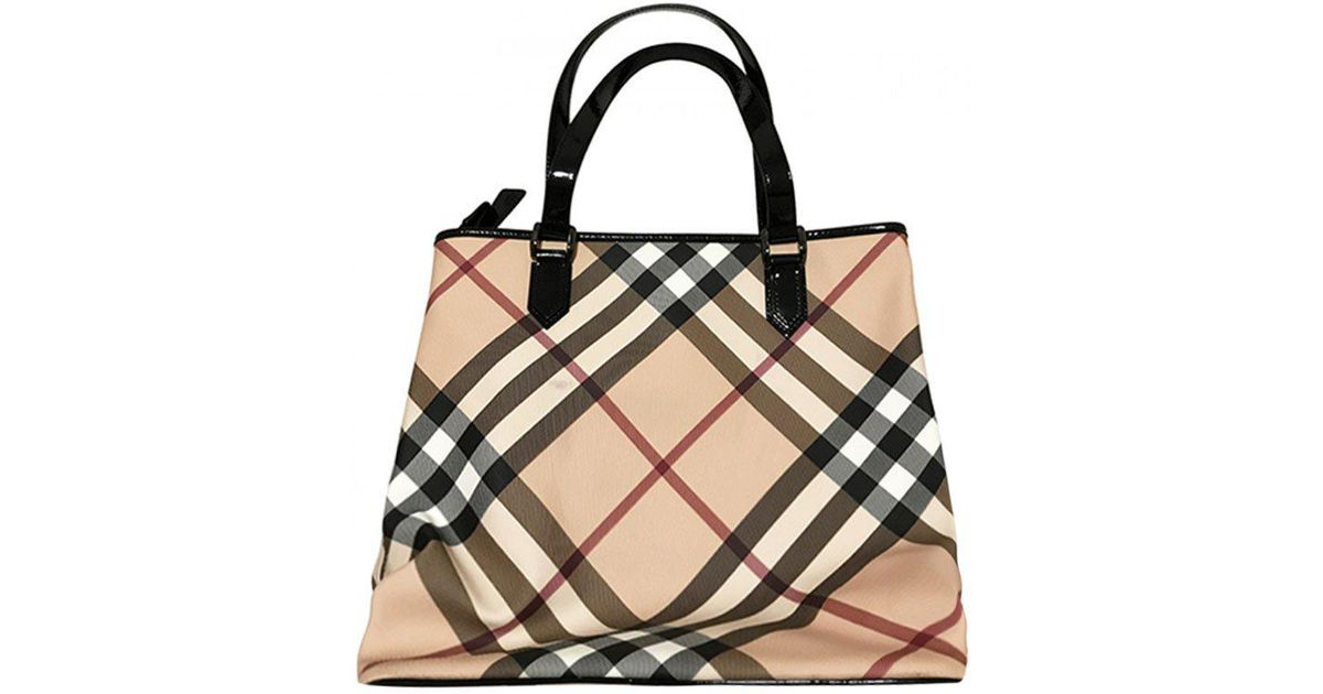 f082d1daae24 Lyst - Burberry Black Nova Check Coated Canvas Large Nickie Tote in Black