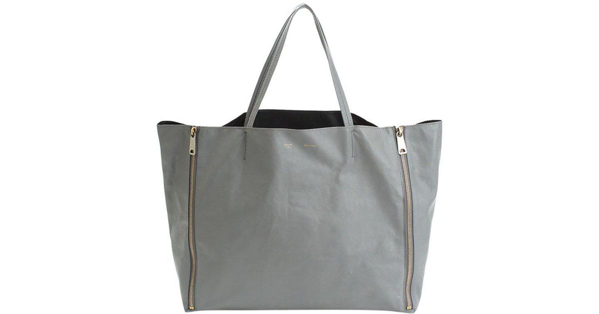 Lyst - Céline Taupe Lambskin Leather Horizontal Gusset Zip Cabas Tote in  Gray 711a65c150eed