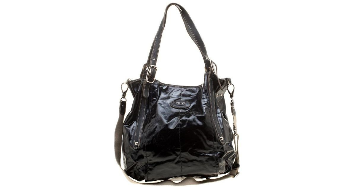 736f479984 Tod's Glazed Coated Canvas G-line Easy Sacca Tote in Black - Lyst