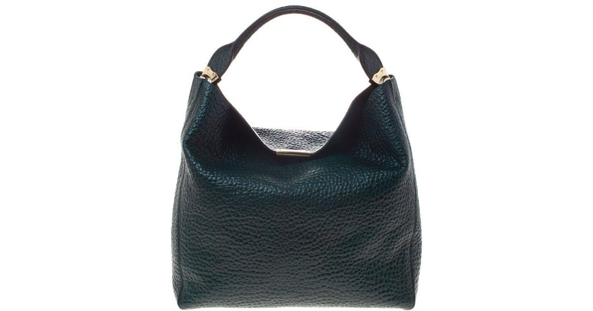 b751115c7312 Burberry Emerald Grain Leather Lindburn Hobo in Green - Lyst
