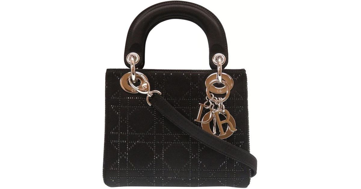 Dior Cannage Quilted Satin Rhinestone Mini Lady Tote in Black - Lyst fa33f31680