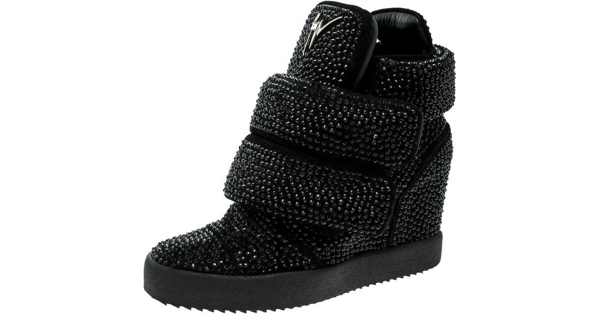424de29535e Lyst - Giuseppe Zanotti Crystal Studded Suede Lamay Lorenz High Top Wedge  Sneakers in Black