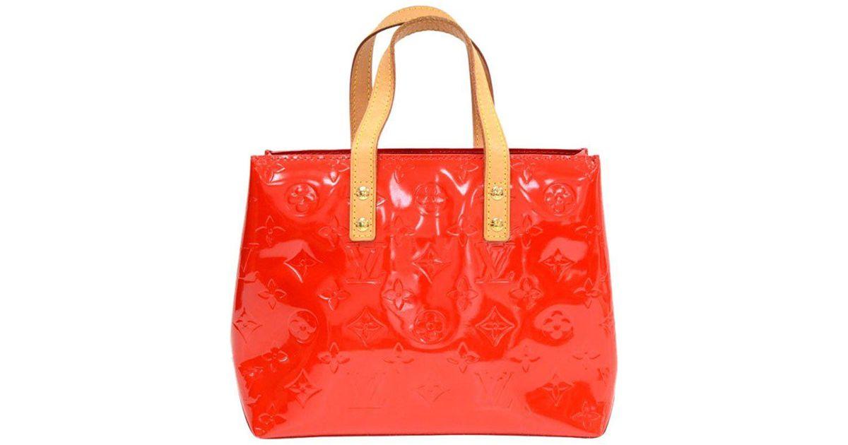 3084dae0cfc2 Lyst - Louis Vuitton Orange Sunset Monogram Vernis Reade Pm Bag in Red