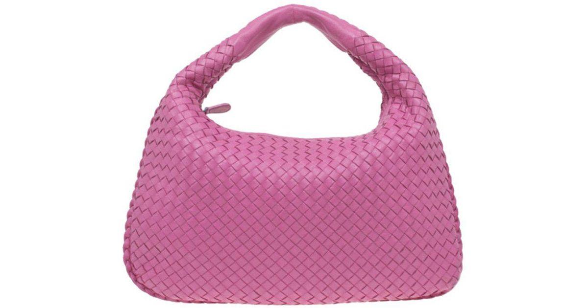 85af61305ab8 Lyst - Bottega Veneta Intrecciato Woven Leather Large Veneta Hobo in Pink