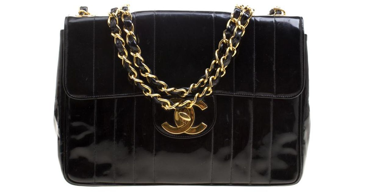 aededddf608164 Chanel Vertical Quilted Patent Leather Xl Jumbo Classic Flap Bag in Black -  Lyst
