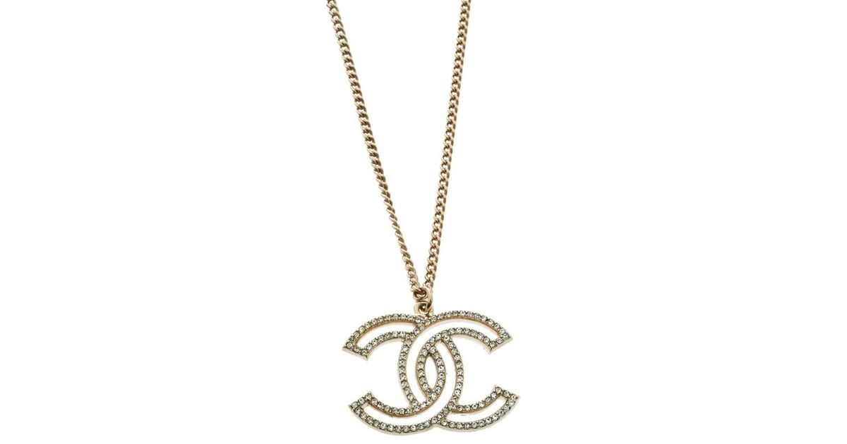 ea341a6bd Lyst - Chanel Cc 100 Anniversary Crystal Tone Pendant Necklace in Metallic