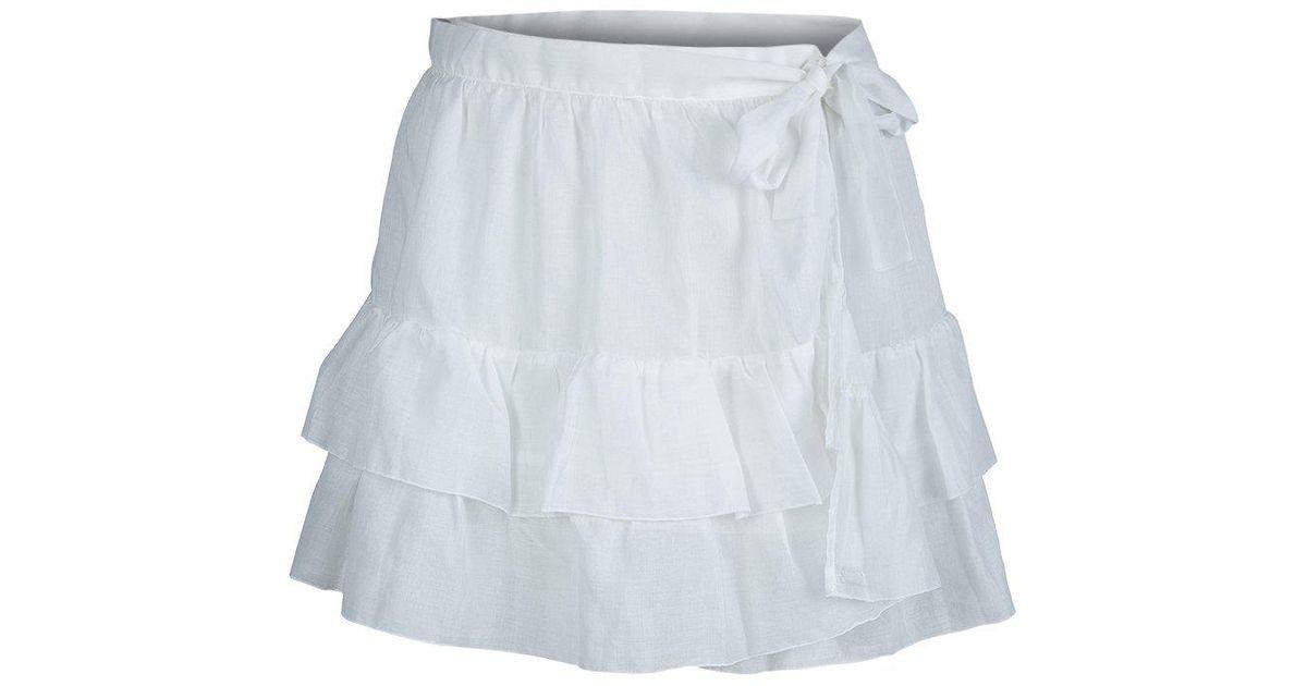 d8486951eb Dior Cotton Voile Tiered Wraparound Mini Skirt M in White - Lyst