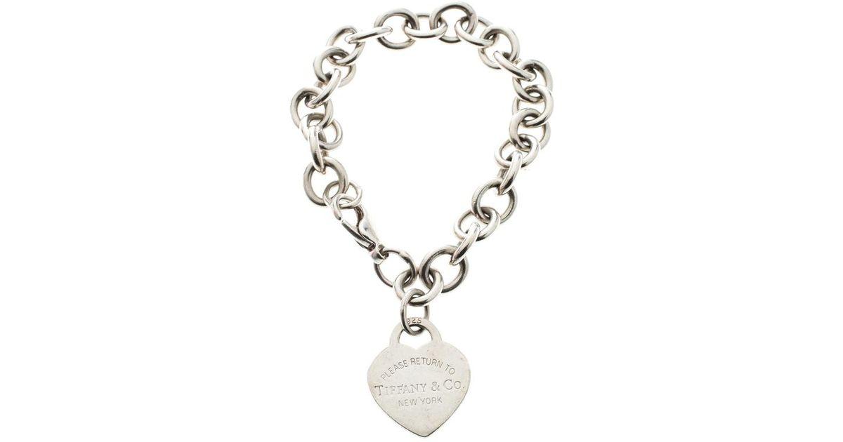 6fddecd6f867 Lyst - Tiffany   Co. Return To Tiffany Heart Tag Bracelet in Metallic