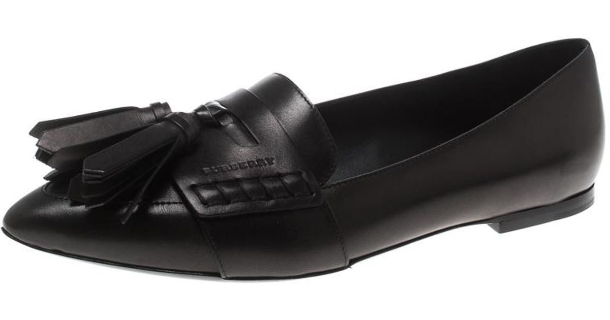 2e2070832ce Lyst - Burberry Leather Coledale Tassel Detail Pointed Toe Penny Loafers in  Black