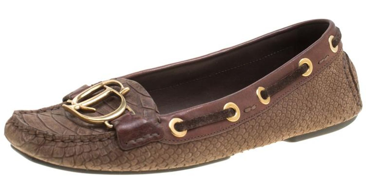 425be2f7671 Lyst - Dior Snake Embossed Suede And Leather Cd Boatstitched Loafers in  Brown