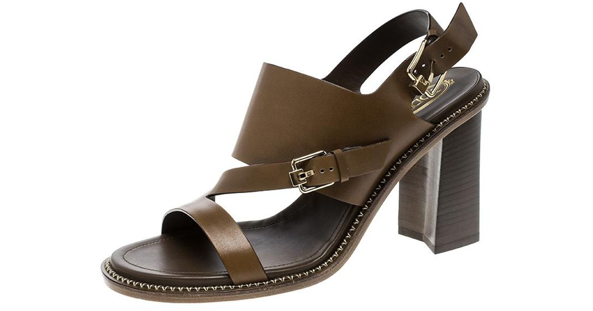 c89867fe61fc4 Tod s - Brown Leather Ankle Strap Block Heel Sandals - Lyst