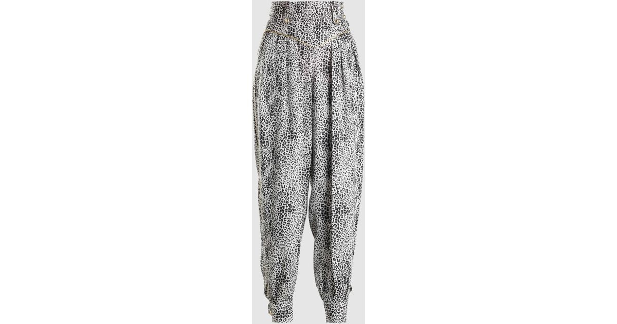 a7f6084a2e24 Alessandra Rich Leopard Print Silk Trousers in White - Lyst