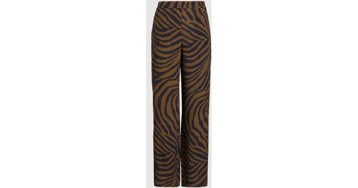 15ae383ba2aa Lyst - LAYEUR Evelyn Wide Leg Zebra Print Trousers