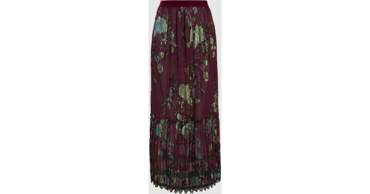 Iridescent Pleated Fil Coupé Silk-Blend Maxi Skirt Anna Sui Explore U7FXvZgT2d
