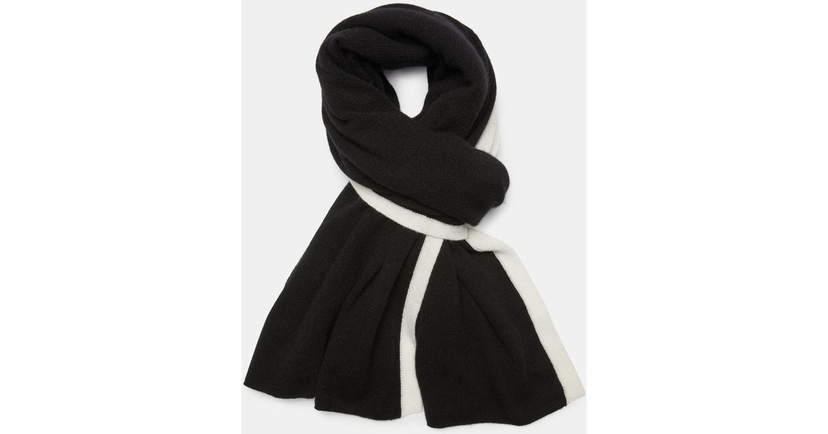 Lyst - Theory Cashmere Striped Blanket Scarf in Black 2e7d55f2e