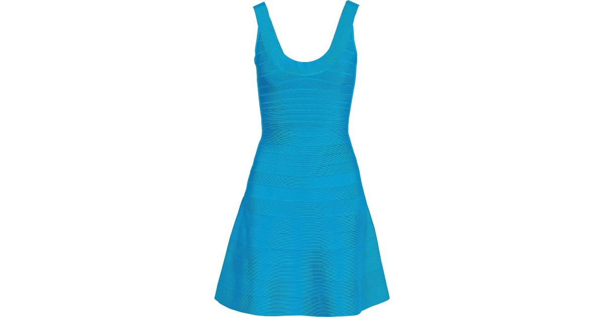 78585fea50cb Hervé Léger Hervé Léger Woman Eva Flared Bandage Mini Dress Light Blue in  Blue - Lyst