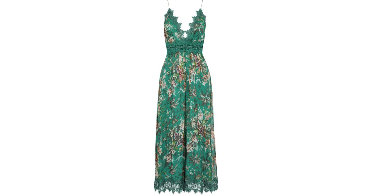 a69bd3f45c Lyst - Zimmermann Lace-trimmed Printed Silk-georgette Wide-leg Jumpsuit  Forest Green in Green