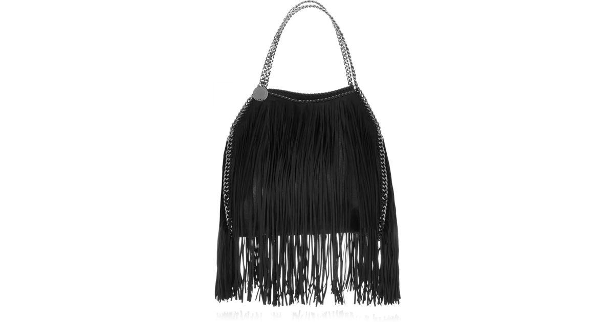 Lyst - Stella McCartney The Falabella Fringed Faux Brushed-leather Shoulder  Bag in Black 967bd351c3109