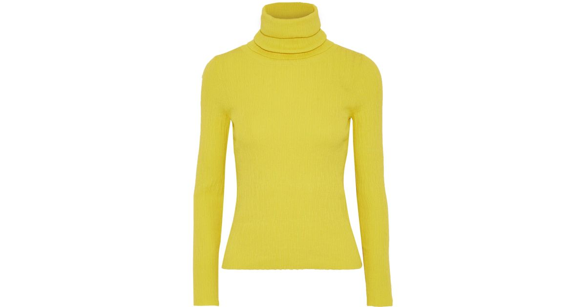 5846f775366699 Simon Miller Woman Ribbed-knit Turtleneck Sweater Bright Yellow in Yellow -  Lyst