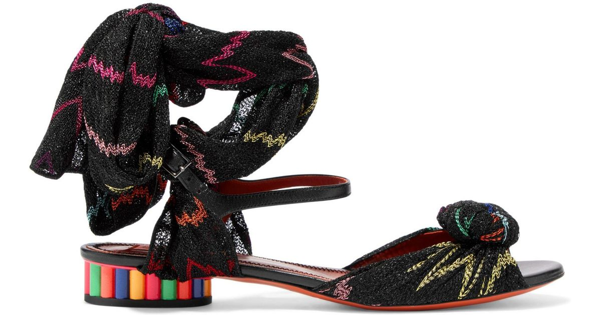 Missoni Woman Leather And Crochet-knit Sandals Black Size 40 Missoni