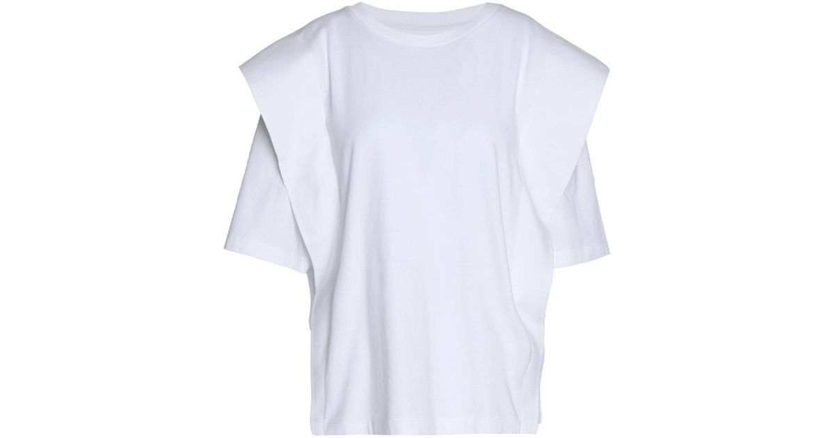 Clearance Exclusive Mm6 By Maison Margiela Woman Color-block Coated Cotton-jersey Top White Size XL Maison Martin Margiela Outlet Big Discount At46zm