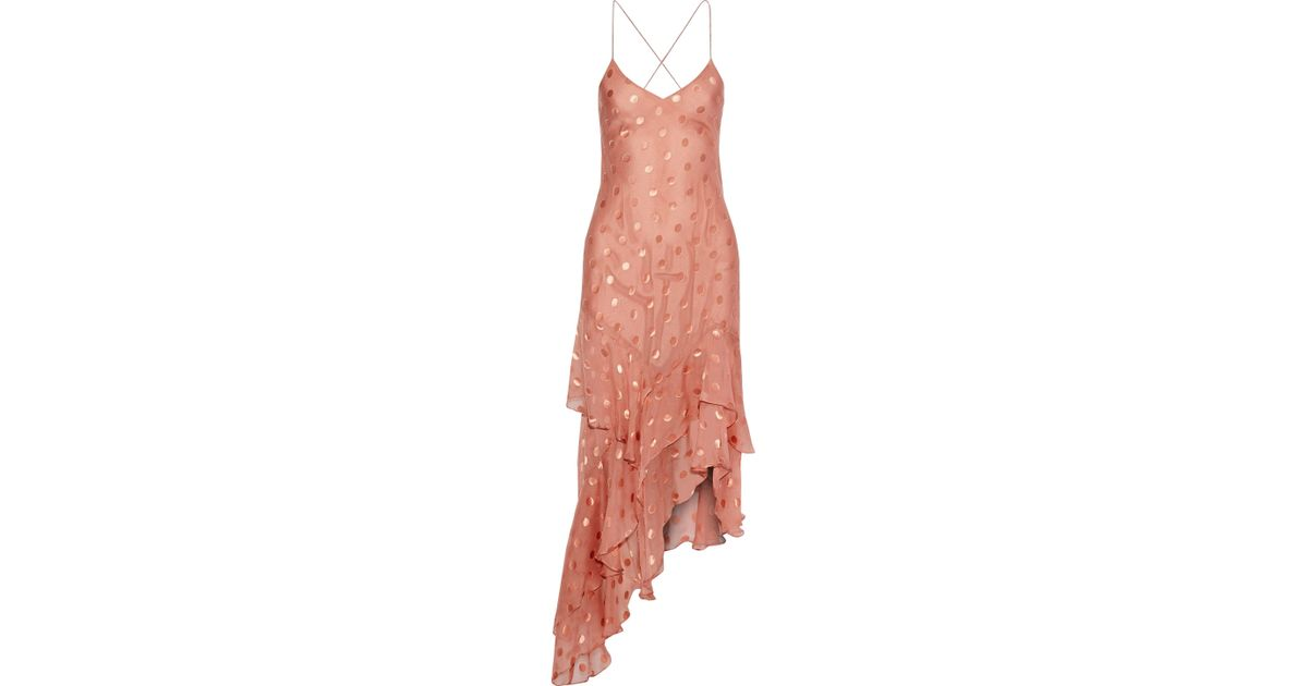b4c6bf14 Michelle Mason Woman Ruffled Fil Coupé Silk-blend Chiffon Dress Antique  Rose in Pink - Lyst
