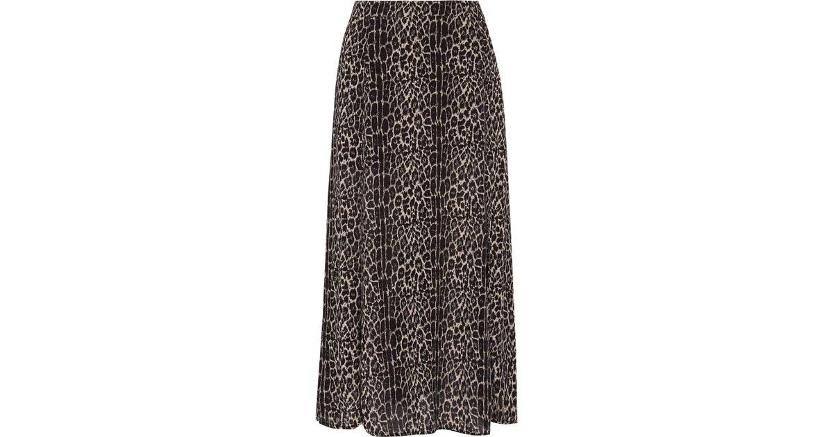 e831807a5a Zimmermann Leopard-print Crepe Midi Skirt in Black - Lyst