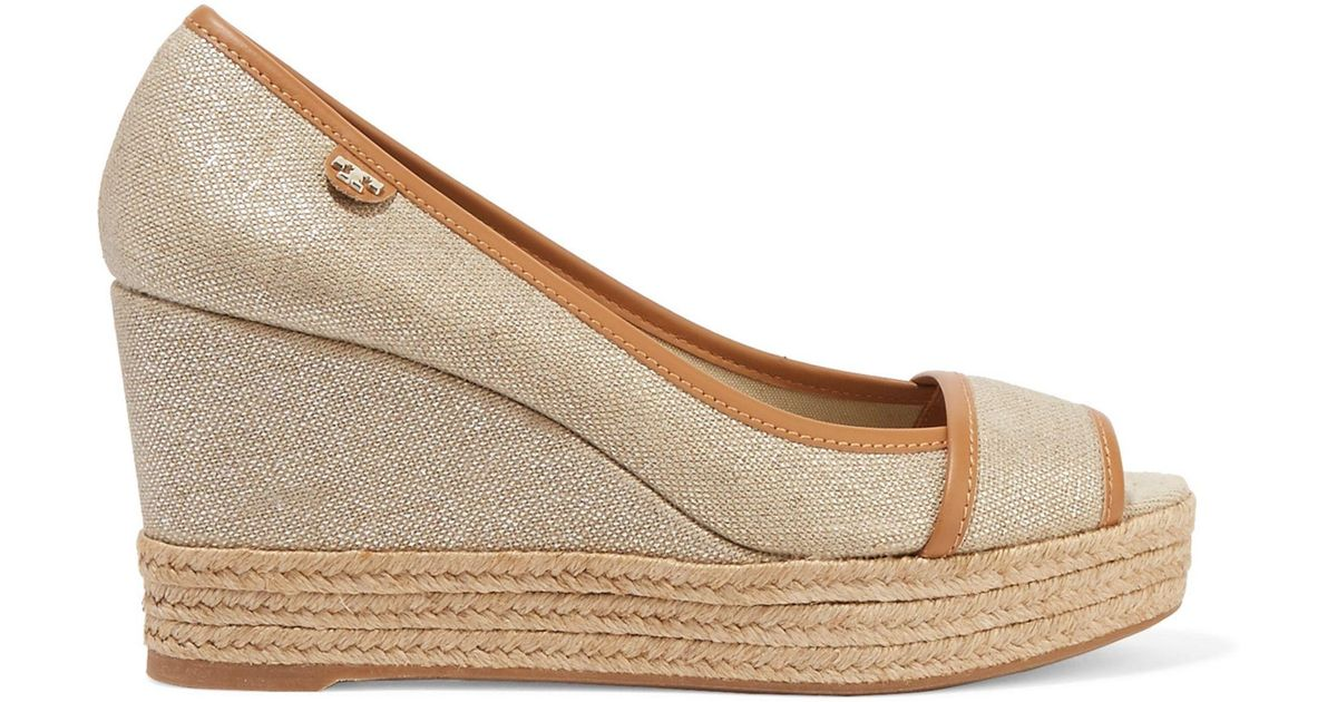 33fe7f178 Tory Burch Majorca Leather-trimmed Metallic Canvas Wedge Sandals in Natural  - Lyst