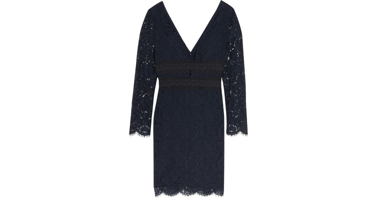 6b727c0439d19 Lyst - Diane von Furstenberg Viera Macramé Lace-paneled Corded Lace Dress  in Blue