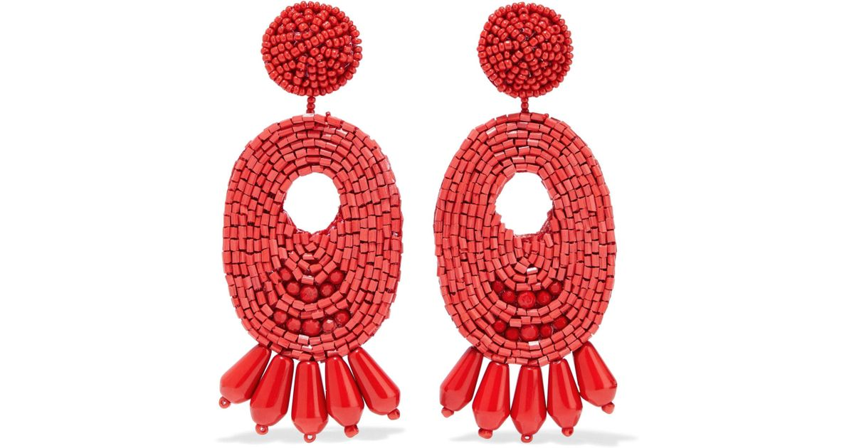 Lyst Kenneth Jay Lane Gold Tone Beaded Earrings In Red Save 8 163265306122454