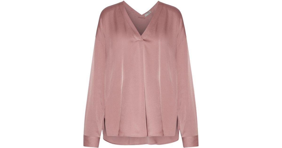 ea83874f59225 Lyst - Vince Silk-blend Satin Blouse Antique Rose in Pink