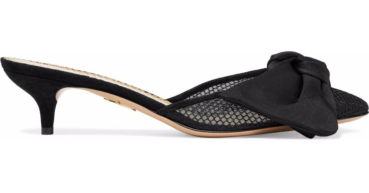 33274f5fbb0 Lyst - Charlotte Olympia Suede-trimmed Bow-embellished Mesh Mules in Black