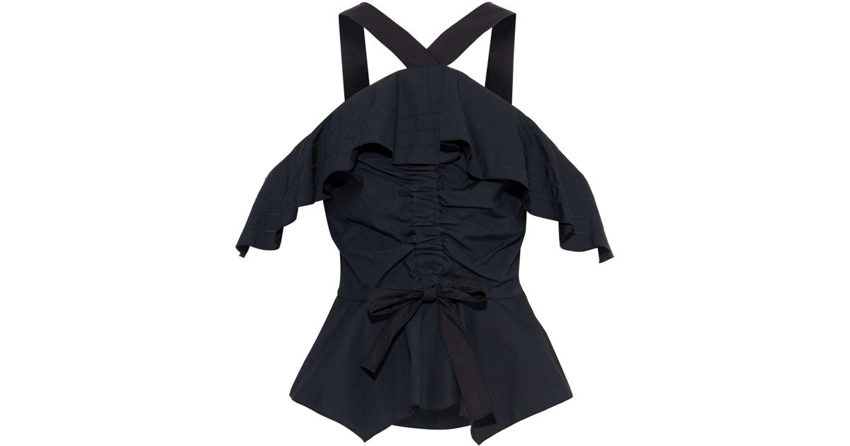 f50c848eef9e4 Lyst - 10 Crosby Derek Lam Cold-shoulder Bow-detailed Ruched Cotton-poplin  Top in Black