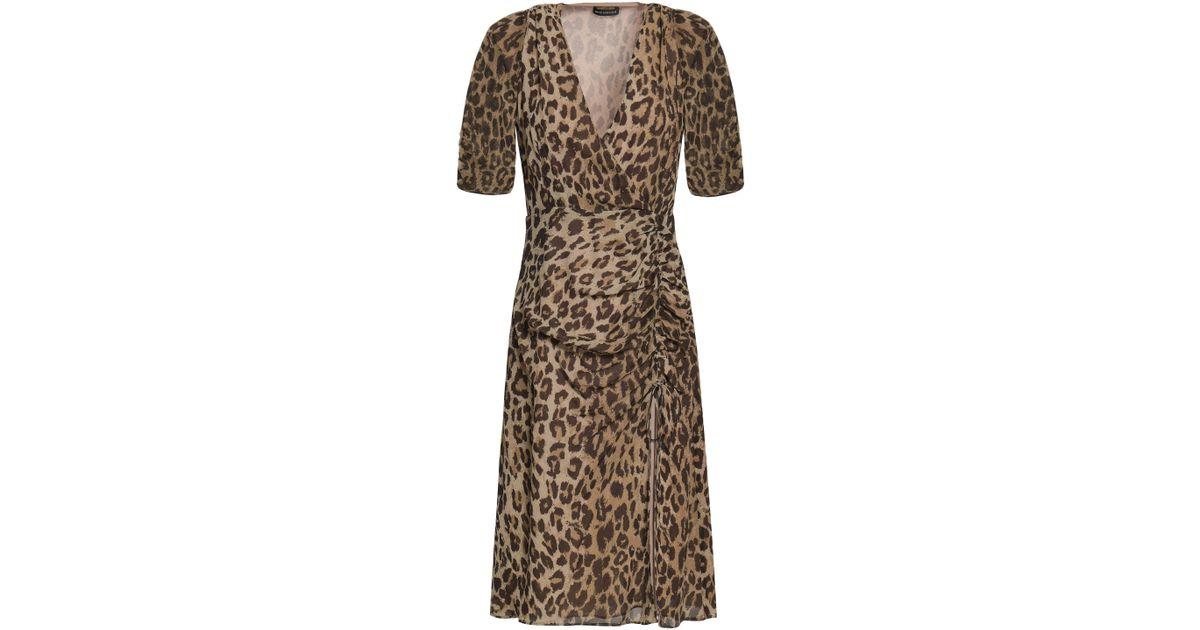 c1d47ab13d50 Nicholas Woman Wrap-effect Ruched Leopard-print Silk-georgette Dress Animal  Print in Brown - Lyst