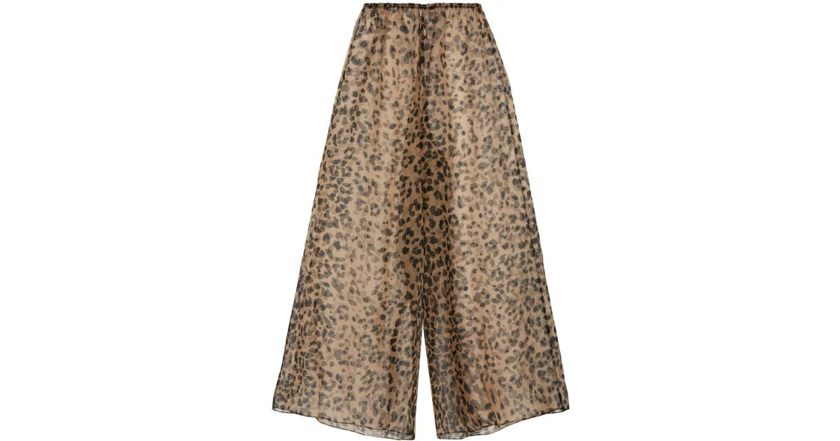 9a3bc3e273781 Lyst - Rosamosario Bossie Bye Leopard-print Silk-organza Pajama Pants Animal  Print in Brown