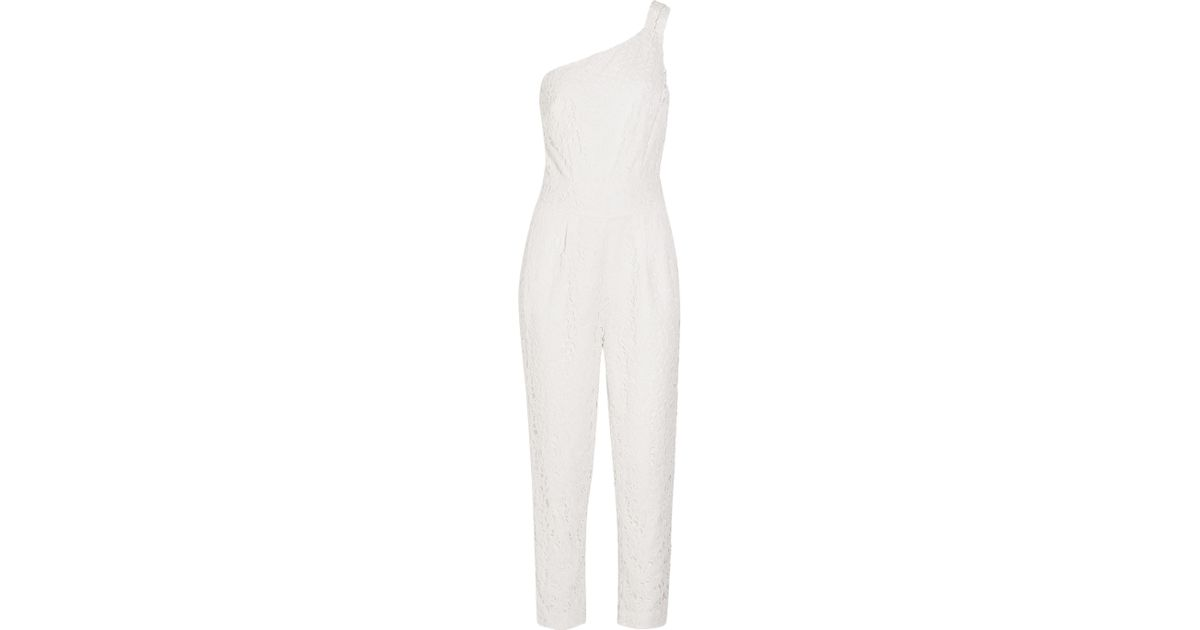 1e2e691b812f Lyst - J.Crew Nia Bridal One-shoulder Floral-lace Jumpsuit in White
