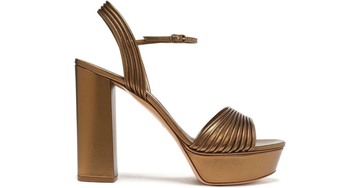 e92fc9a1501 Casadei Metallic Leather Platform Sandals - Lyst