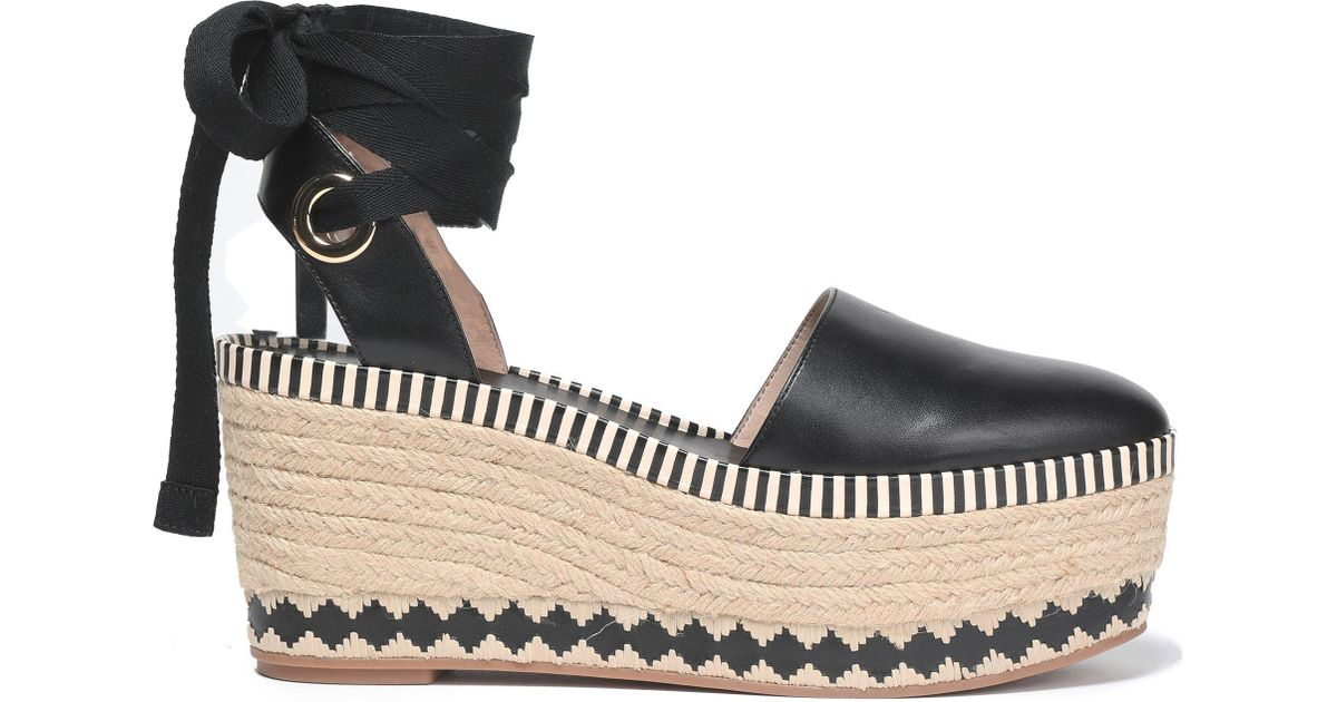 ee29cf6031a Tory Burch Lace-up Leather Platform Espadrilles in Black - Lyst