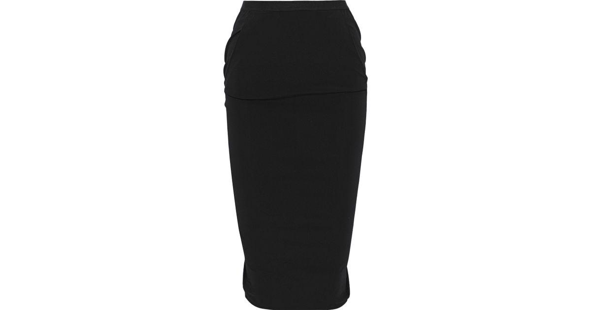 a9f55906a Lyst - Rick Owens Woman Pillar Split-back Stretch-shell Pencil Skirt Black  in Black