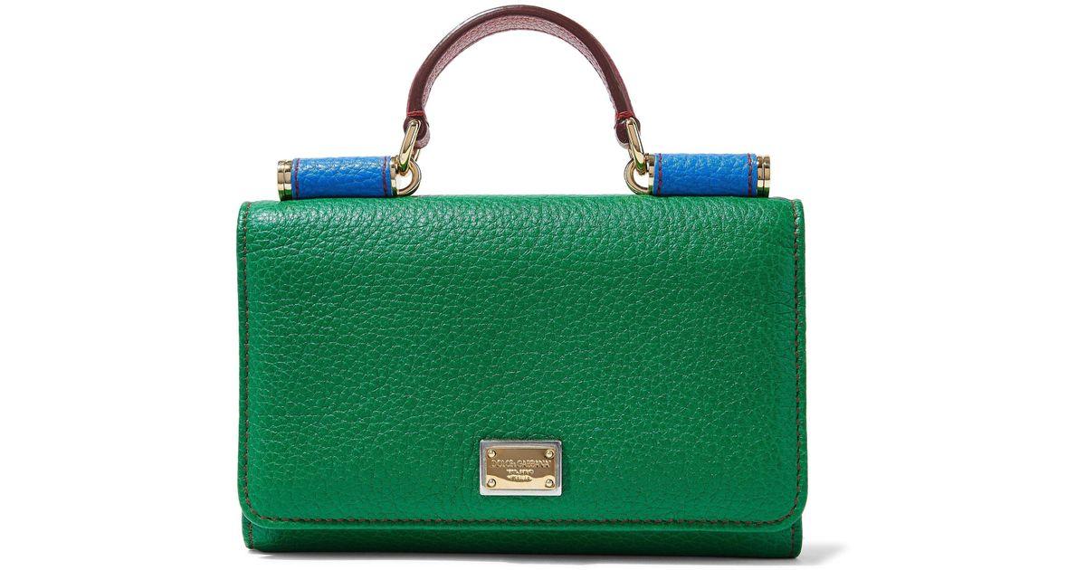 d57ce0a34c2c Lyst - Dolce   Gabbana Von Color-block Textured-leather Shoulder Bag in  Green