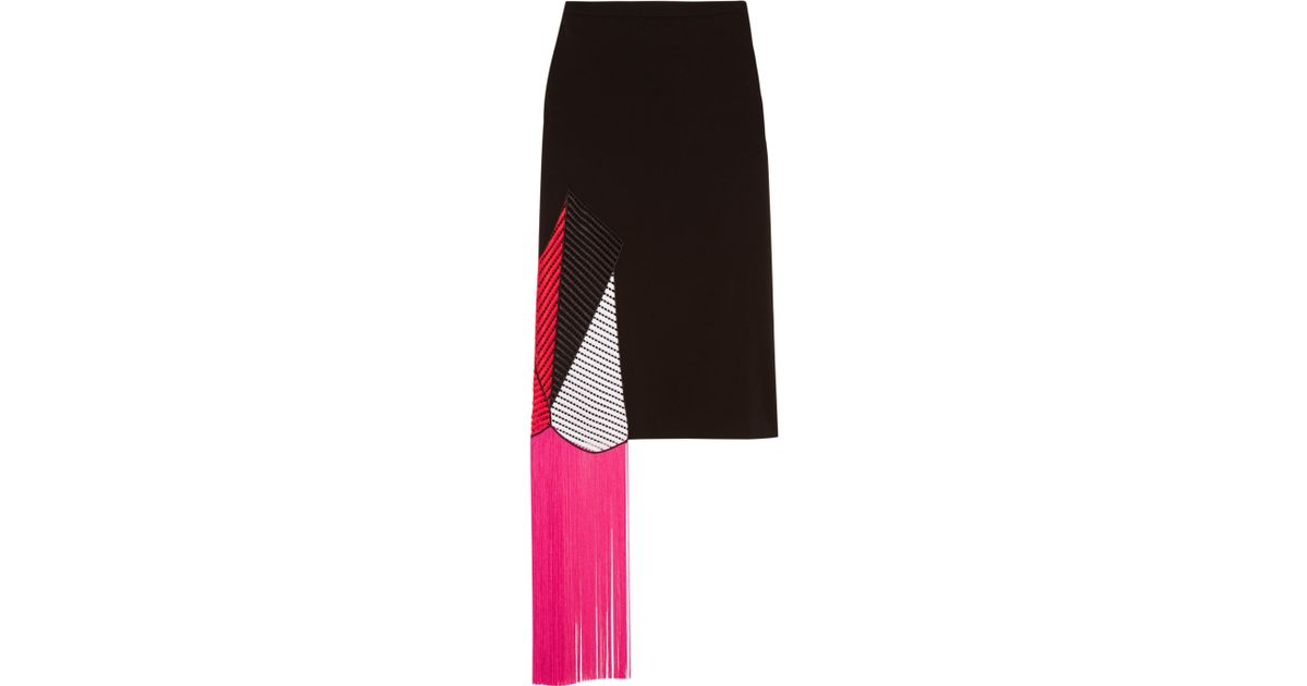 Women's Black Fringed Crochet-paneled Stretch-crepe Skirt