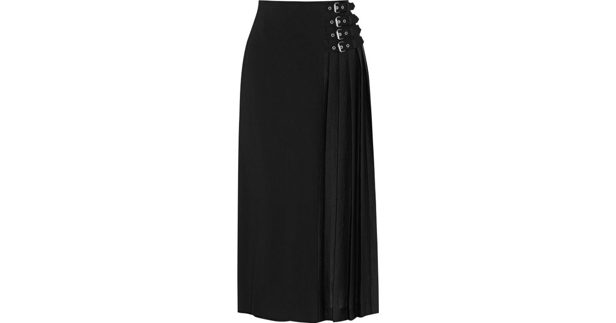 Women's Black Booth Buckle-embellished Crepe Midi Skirt