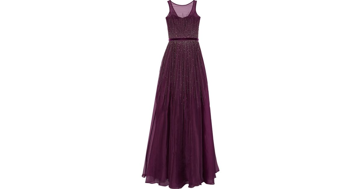 Lyst - Mikael Aghal Pleated Embellished Silk-organza Gown in Purple