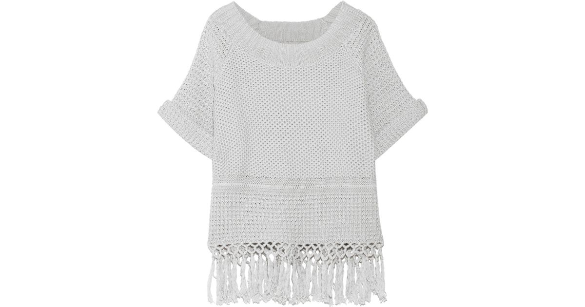 Lyst - Current/elliott The Peggy Fringed Open-knit Cotton Sweater Light Gray  Size 0 in Gray