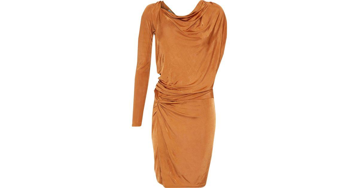 f22f24e6254d Michelle Mason Woman Draped Satin-jersey Mini Dress Copper in Brown - Lyst