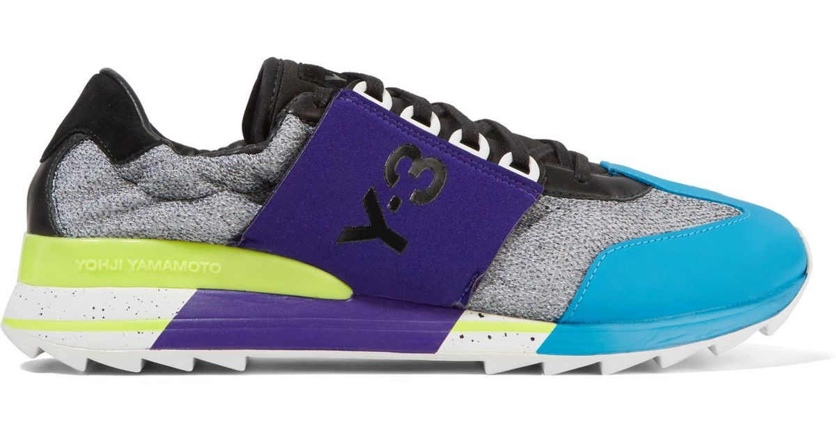 41448a0cf36f Lyst - Y-3 + Adidas Originals Rhita Sport Leather-trimmed Mesh And Neoprene  Sneakers in Blue