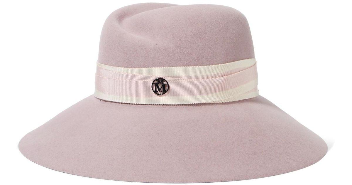 15b9172581f Maison Michel Rose Wide-brim Rabbit-felt Hat in Pink - Lyst